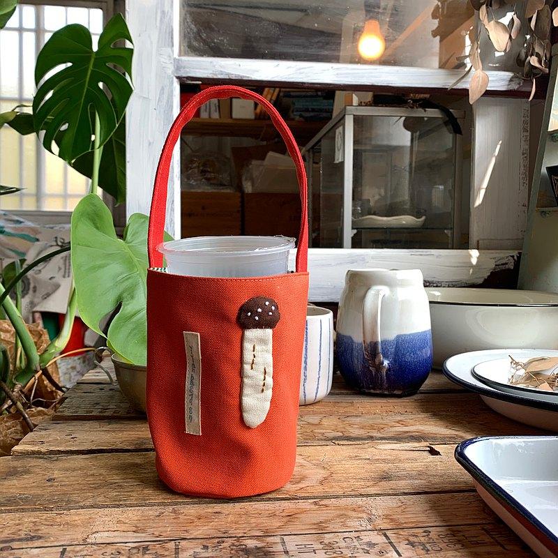 杏鮑菇/柑橘色底/飲料提袋