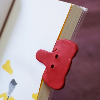Leather Bookmark / Cute Animal Bookmark / Gift for Book Lovers - Elephant Red