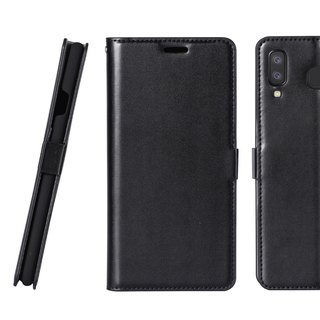 CASE SHOP Galaxy A8 star magnetic buckle side holster leather case - black (4716779660128)