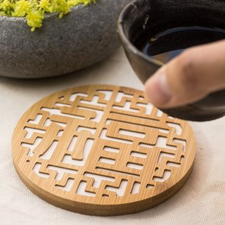 【Into the house gift】 good blessing ┇ hot water absorption bamboo coasters