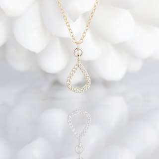 【14 KGF】 Necklace, Tiny CZ - Teardrop -