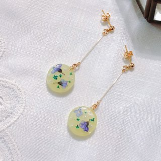 Season flower series - lemon grass hand made dry flower embossed hanging ear / ear clip