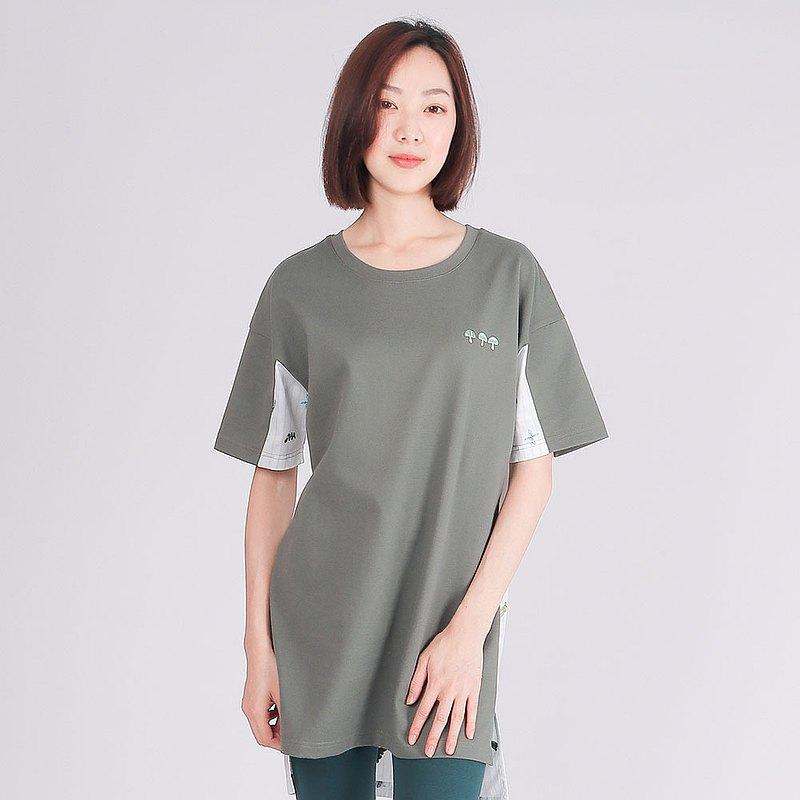 埃及棉厚紡拼接長版圓領衫-灰綠 夏裝