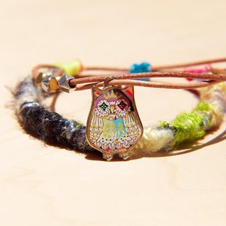 Valentine's Day gift genuine leather bracelet hand rope line sari bracelet - bright color colorful owl (adjustable)