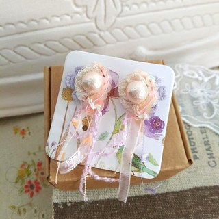Garohands Japan imported cotton lace pearl earrings * Peach D079 feel romantic temperament gift