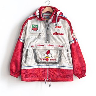 Vintage ellesse red and white rooster ski coat with a vintage coat