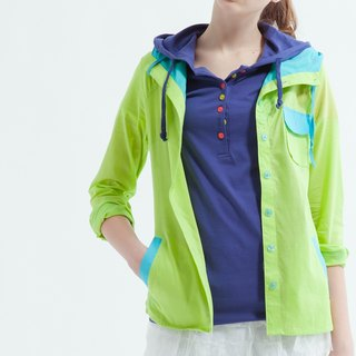 Fitted Shirt With Hood In Green And Blue