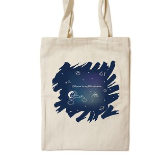 Small universe - painted canvas bag