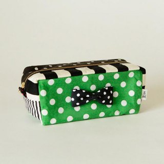 box cube pouch dots borders stripes green black&white ribbon brooch Sencond