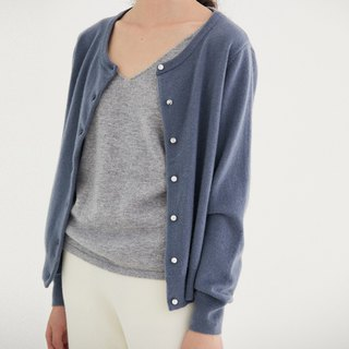 Gray-blue DROPS Turquoise button basic 100% Australian full wool sweater cardigan sweater four colors