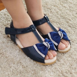 (0 yard special) bright Jingjing bow T-shaped sandals - blue ocean