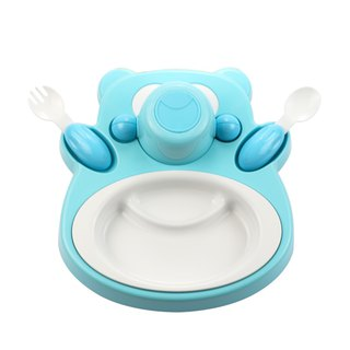 PLAStudio - Corn Children's Tableware - Honey Bear - Blue