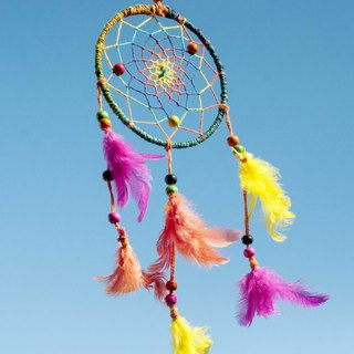 Limited hand-woven cotton and linen original dream catcher Boho wool line dream catcher - gradient rainbow forest