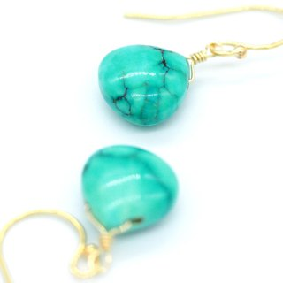 [Maya Tara] 14KGF AAA Natural Turquoise Gemstone Earrings Turquoise
