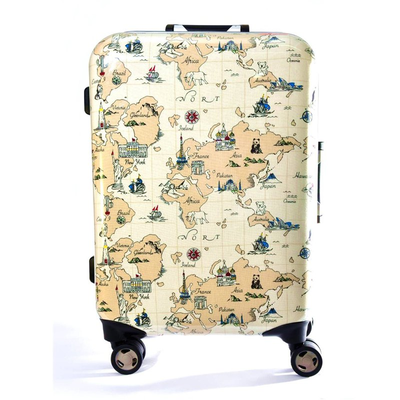 Travel around the world - hand-printed fashion aluminum frame 20 吋 suitcase / suitcase