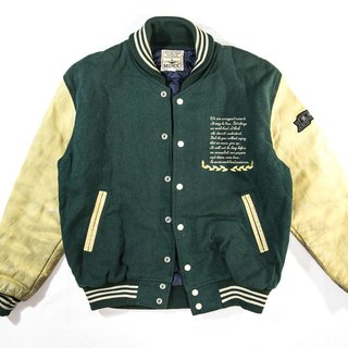 [3thclub Ming Ren Tang] leather sleeve baseball jacket wool green chiefs BSE-004 vintage Japanese