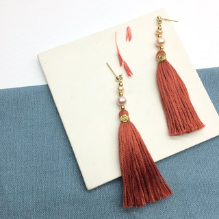 Laolin groceries l Japanese embroidery thread for tassels - Shanghai pearl models dark red ear hook l ear pin l ear clip