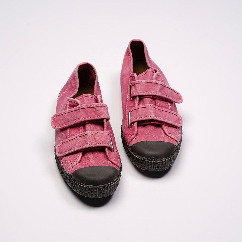 西班牙帆布鞋CIENTA U78777 42粉紅色 黑底 洗舊布料 大人 魔鬼氈