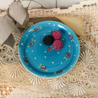 [Good day fetish] Netherlands vintage blue hand-painted pattern ceramic snack plate