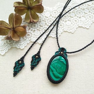 BUHO hand made. Congo heart. Malachite X South American wax wax necklace