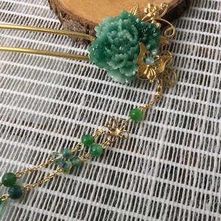 Meow ~ hand made resin peony hairpin (green)