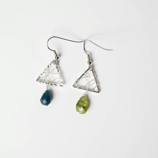 [Green] Handmade X natural stone earrings