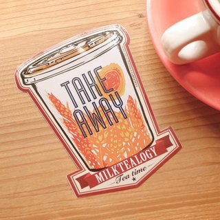 MILKTEALOGY waterproof large sticker 03: Take away cup