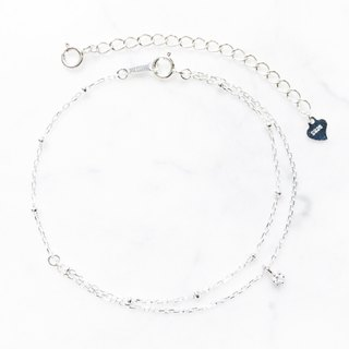 :: Sun & Moon Series :: Mini Silver Ball Single Drill Asymmetric Double Chain Bracelet / Anklet / Dual-use Chain
