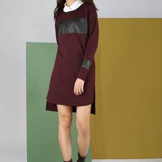 Square leather stitching pocket dress