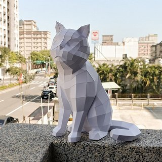 3D Paper Model_Sitting Cat_DIY Kits_Hand-made Combination