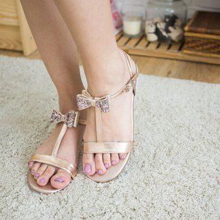EVE Sandal Rose Gold Glitter bow Rubber Sole