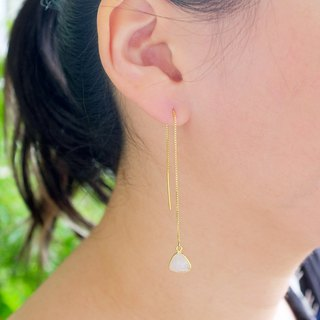 Simple natural stone pendant earrings - Moonstone 925 sterling silver bag gold anti-allergy