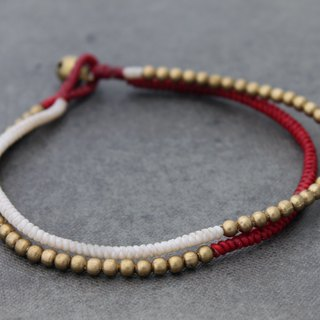 Beaded Woven Brass Anklets Contrast White Red Raw Brass Beads Ankles Bracelets