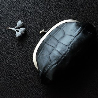 Genuine leather leather gypsum pouch type Croco embossed black chocolat