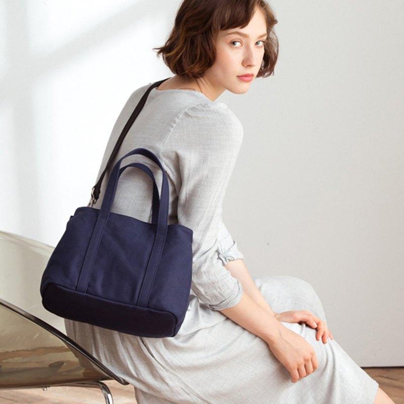 Nora 帆布 2way 手提包 +媽媽包內袋【海軍藍】