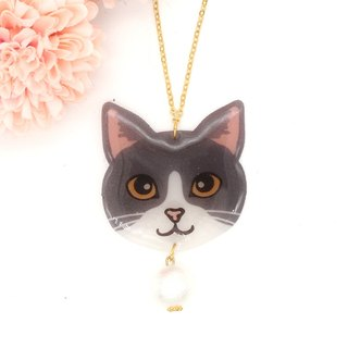 Meow handmade cat and cotton pearl necklace - grey and white cat