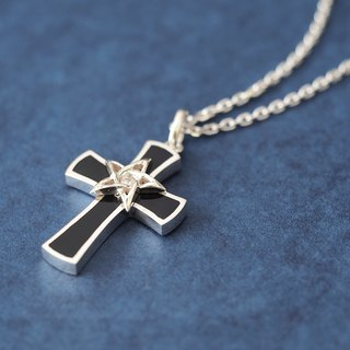 Star Cross Men's Necklace 925 Silver