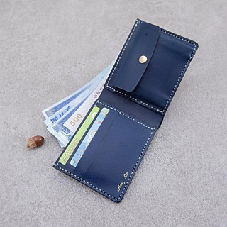 Be Two ∣ Dark blue leather short clip / wallet / classic men's wallet / full leather sandwich