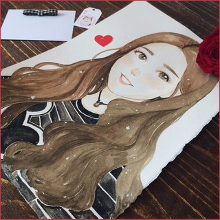 ◆ SS. Yan Feng Hua ◆ A3 size single (delicate style) watercolor hand-painted photo cartoon portrait painting
