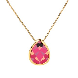 Dew first heart printed enamel necklace (gold) -19,205,151,139