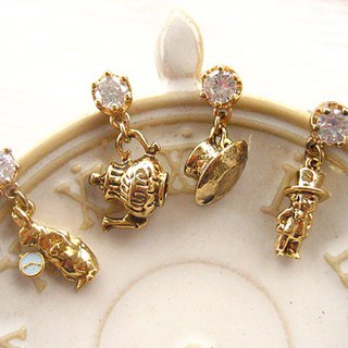 Jolie baby-Alice Tea Party Stereo Series - Rabbit and Hat Mr. Secret Tea Club Earrings