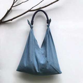 SAMEDi - Casual Tie Tote - Light Blue Denning + Dark Blue Handle