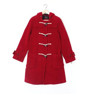 Giraffe giraffe _ hooded pocket crimson inside the red check vintage horn button coat