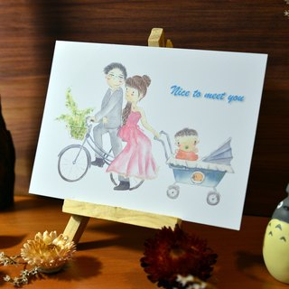 Hand-painted watercolor births cards - postcards section