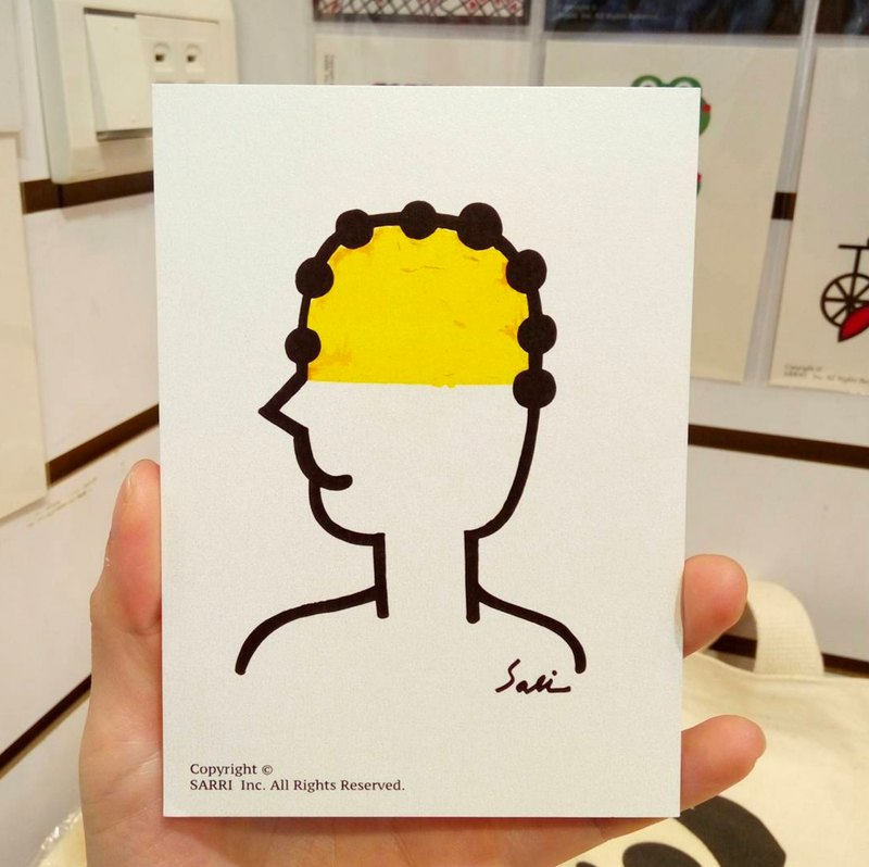 Full Of Yellow Jokes Man Postcard Birthday Card Design Coloring Illustration Picture Book Universal Art Fine Arts Modern Lover Love Special Fun