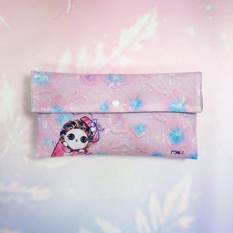 口罩收納袋/萬用包-超萌少女粉禮物貓
