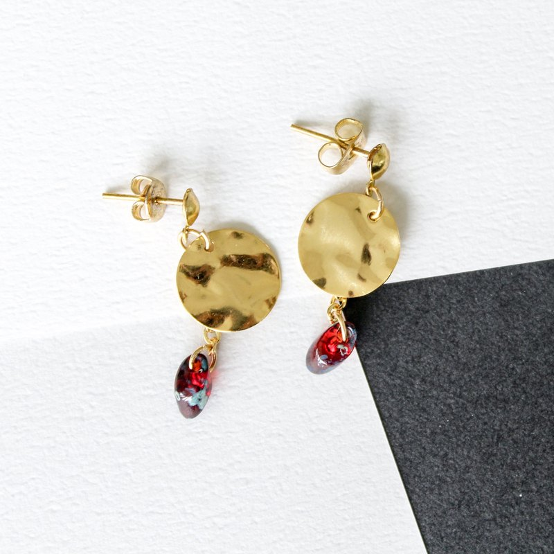 [Da Da Daily]Circle gold chain red nature stone earrings