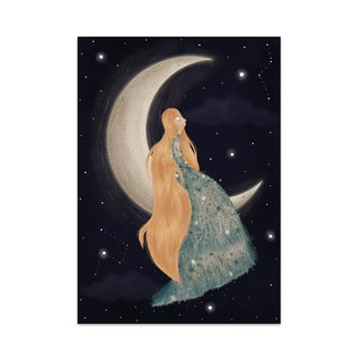 Girl in the Moon Art Print