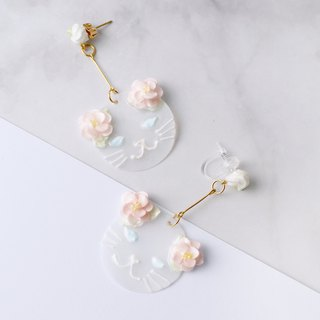 Kitty Cat Foral Drop Earring/ Ear Clip White ver. =Flower Piping=