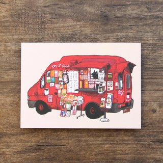 Postcard Red Snack Van and Fox